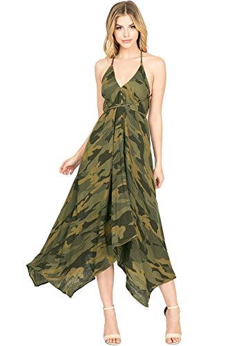 Love Stitch - LOVE STITCH Women's Chambray V Neck Halter Maxi Dress (S/M, Camo)
