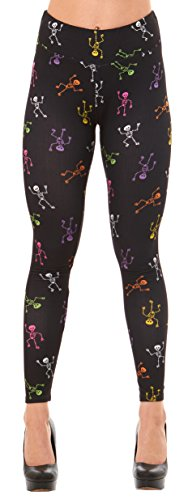 Just One Women's Fun Peach Feel Halloween Leggings (Multi-Color Skeletons, (See Through Halloween Outfits)