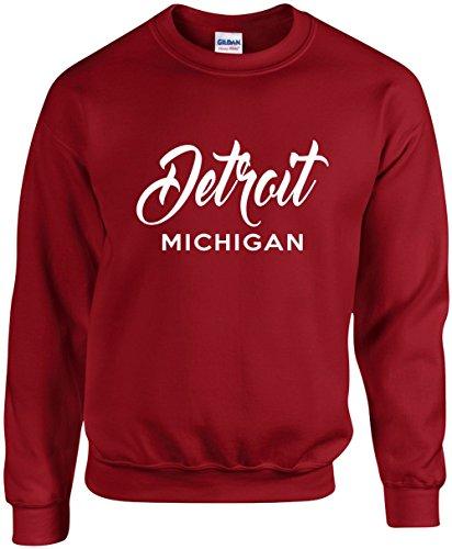City Crewneck Sweatshirts - Unisex Funny Crewneck Size L (Detroit Michigan (city state) Sweatshirt