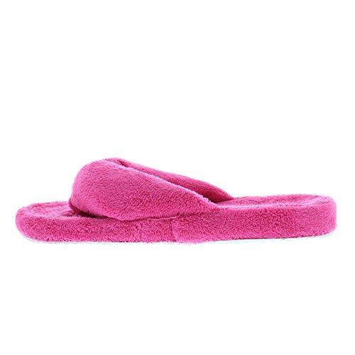 Isaac Mizrahi Womens Milada Microterry Moisture Wicking Fleece Flip Flop Thong Slipper Non Slip Outsole Fuchsia hvqnN