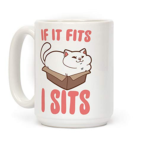 LookHUMAN If It Fits, I Sits White 15 Ounce Ceramic Coffee Mug