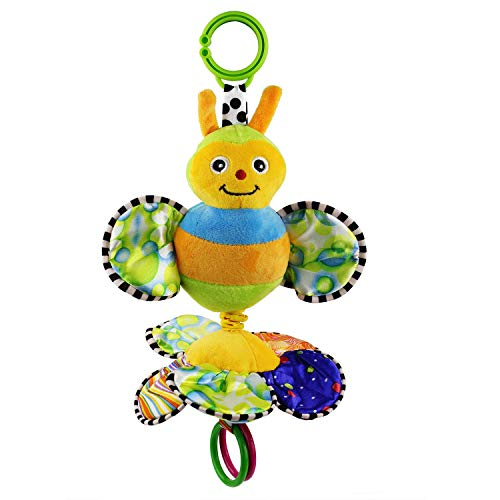 Jepeak Baby Stroller Activity Hanging Toy, Cartoon Butterfly Music Crib Toy, Plush Pull Bell Sensory Car Seat Toy for Infant Toddler Baby Boys Girls Kids Children