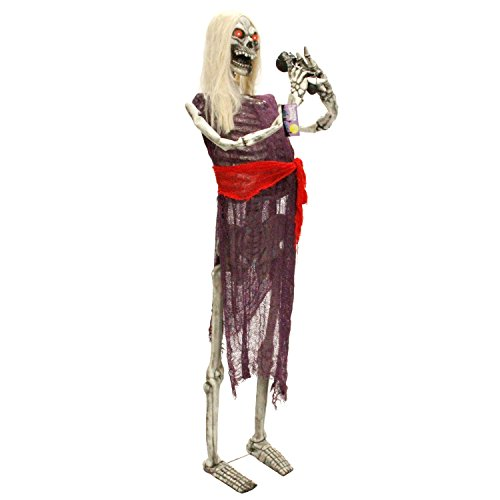 Halloween Haunters Life-Size Standing Skeleton Zombie Man Singer Singing Musician Rock Band Prop Decoration - Thick Rubber Latex ()