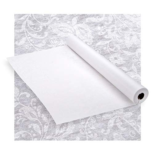 """Darice White Floral Lace Aisle Runner – Adhesive Strip, Rope Handle For Easy Unrolling – For a Beautiful Walk Down the Aisle - Elegant Accent For Weddings and Special Events, 36"""" Wide, 125' Long ()"""