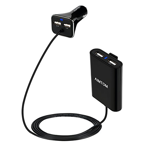 AIMTOM 36.5W 4 Port USB Car Charger for Front and Backseat Passengers 6FT Extension Cable Multiple Smart Charging Port for iPhone iPad MacBook Galaxy S7 S6 Edge Note LG HTC and More