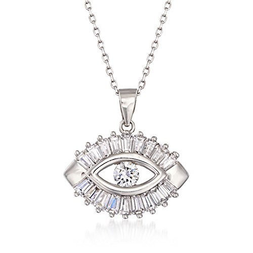 Ross-Simons 1.25 ct. t.w. CZ Evil Eye Pendant Necklace in Sterling ()