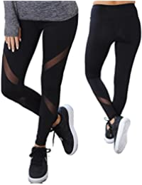 Women Sports Mesh Trouser Gym Workout Fitness Capris Yoga Pant Legging
