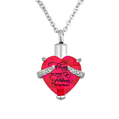 Heart Cremation Urn Necklace for Ashes Urn Jewelry Memorial Pendant with Fill Kit and Gift Box - Always on my mind forever in my heart (Pink)