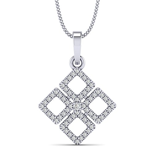 Fehu Jewel 0.21cts Natural Diamond Gold Over Sterling Silver Square Pendant for Women (White-Gold-Plated-Silver)