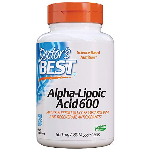 Doctor's Best Alpha-Lipoic Acid, Non-GMO, Gluten Free, Vegan, Soy Free, Helps Maintain Blood Sugar Levels, 600 mg 180 Veggie Caps