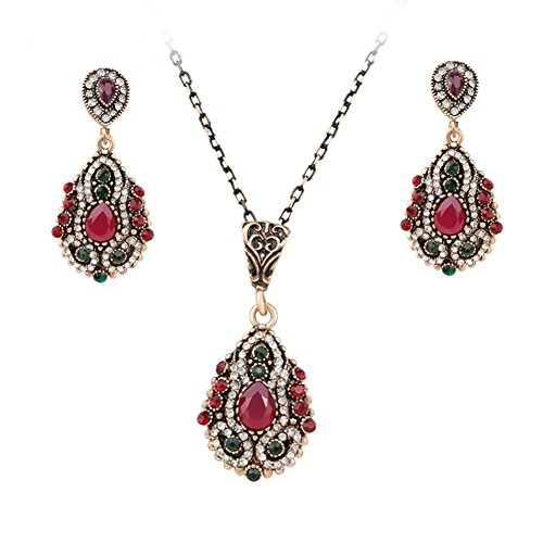 (Turkey colorful crystal vintage Jewelry Set,Ethnic Style Necklace Earrings for Women and Girl)