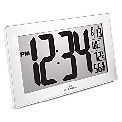 Marathon CL030068WH-BS Slim Panoramic Atomic Full Calendar Wall Clock with 8 Time Zones, Indoor Temperature, and Table Stand - Batteries Included. Color- White Frame/Stainless Finish