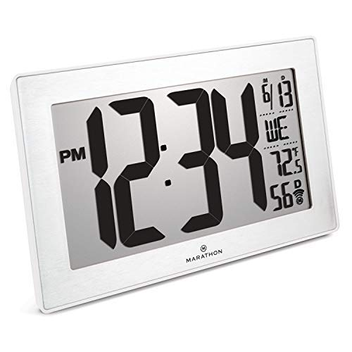 Marathon CL030068WH-SS Slim Panoramic Atomic Wall Clock with Table Stand - Batteries Included. Color- White Frame/Stainless Finish
