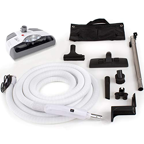 GV Central Vacuum kit with Power Head 35 foot hose and tools designed to fit Beam Electrolux Nutone Hayden fits all brands white head