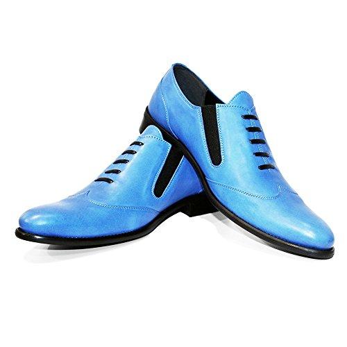 Cuir de et Modello Blukko Hommes Bleu sur pour Handmade Italiennes Cuir Souple Mocassins des Glisser glissades Cuir Vachette Flâneurs zqtrH4Oqw