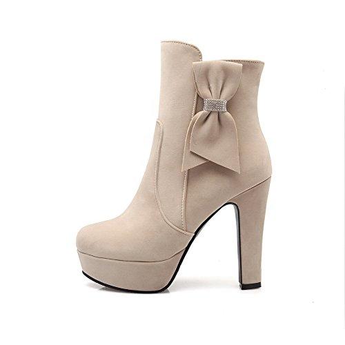 AgooLar Damen Mattglasbirne Niedrig-Spitze Eingelegt Reißverschluss Hoher Absatz Stiefel Cremefarben