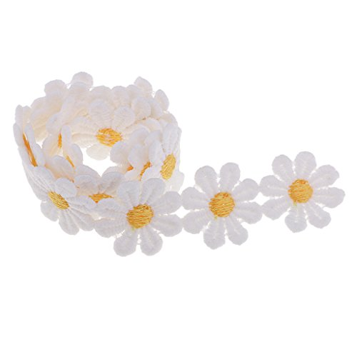 Homyl 0.55 Yard Classic Mini Embroidery Flower Patten Lace Decorating Lace and Trims For Sewing and Art Craft Projects DIY Ribbon Crafts Tape Handmade Decoration - 10# Yellow Daisy