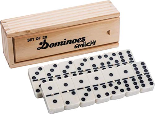 Smilejoy Classical Double 6 Dominos Game Set with Spinner 28pcs (2-4 - Game Spinner Domino
