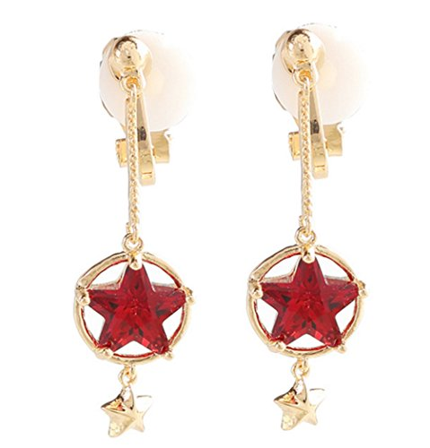 Cat Clip on Earring Dangle Red Double Star Rhinestone Clips for non Pierced Gold-tone for Banquet Women