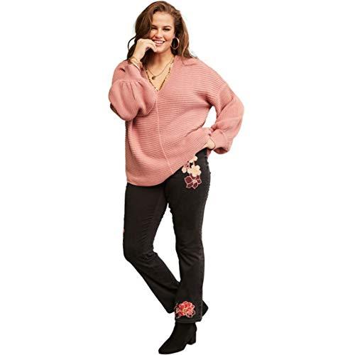 Roamans Women's Plus Size No-Gap Slim Bootcut Jean - Multi Embroidery, 28 ()