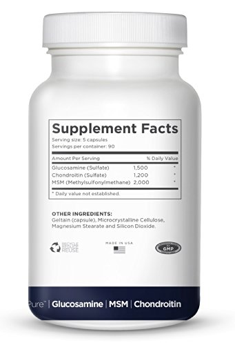 TRIPLE STRENGTH GLUCOSAMINE Sulfate 1500 mg - CHONDROITIN Sulfate 1200 mg - MSM 2000 mg PER SERVING- 450 Capsules Per Bottle- FlexiPure Advanced Joint Support Helps With ARTHRITIS PAIN, Supports HEALTHY And FLEXIBLE Joints and Connective Tissue. by Nature (Image #3)
