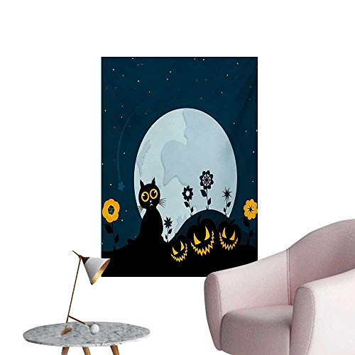 Anzhutwelve Halloween Art Decor Decals Stickers Cute Cat and Lanterns Moon on Floral Field with Starry Night Sky Star Cartoon ArtBlue Black W32 xL36 Poster Print ()