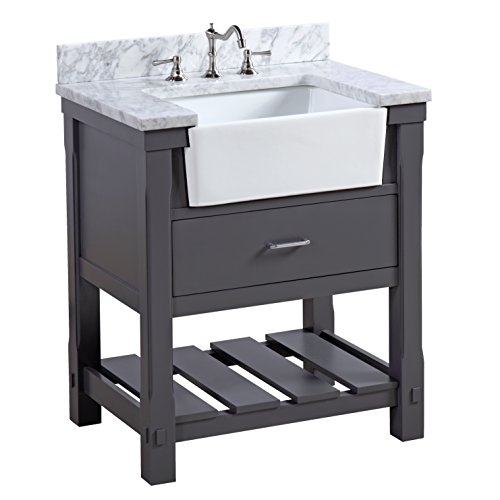 Charlotte 30-inch Bathroom Vanity (Carrara/Charcoal Gray): Includes a Carrara Marble Countertop, Charcoal Gray Cabinet with Soft Close Drawers, and White Ceramic Farmhouse Apron Sink