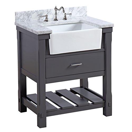Charlotte 30 Inch Bathroom Vanity (Carrara/Charcoal Gray): Includes A  Carrara