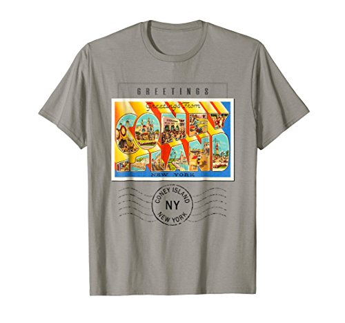 Coney Island Postcard T Shirt New York NY Travel Souvenir (Postcard Island)