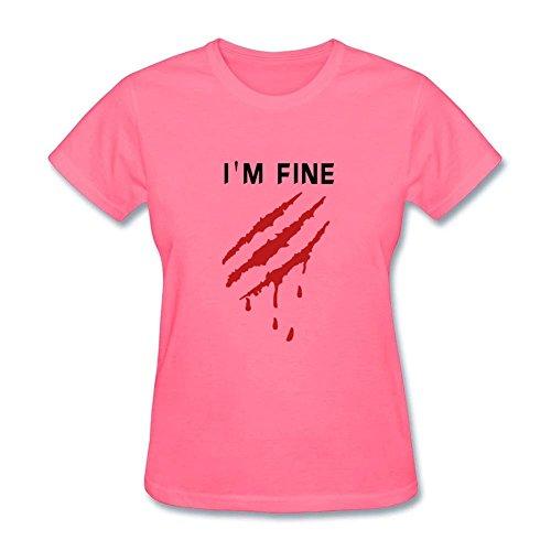 Twentees Printed Graphic Womens I'm Good Tee O Neck Pink ()