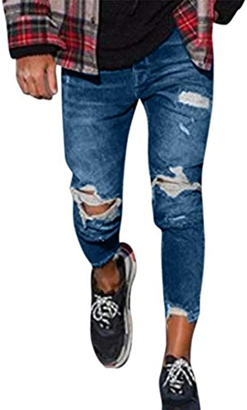 Tomatoa Męskie Mode Denim Cotton Straight Hole Hose Distressed Jeans Lange Hose: Odzież