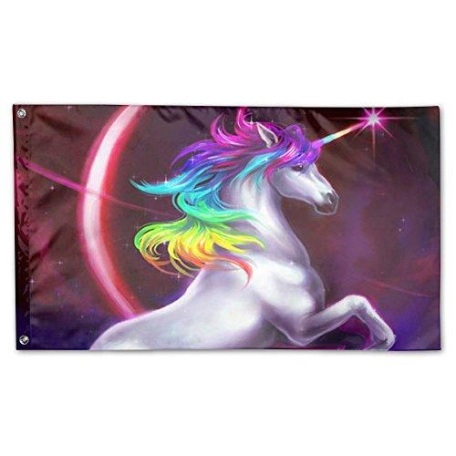 POZF1A Neon Rainbow Unicorn Deluxe Flag, 3 X 5', Multicolor.