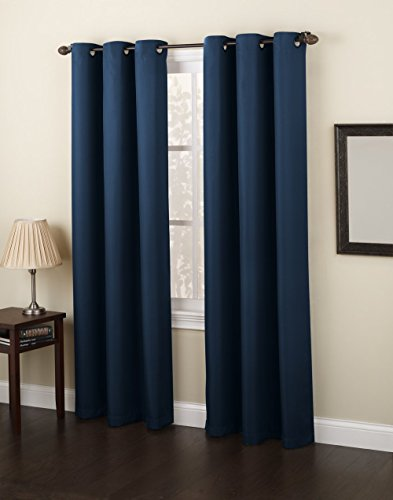 Gorgeous Home *DIFFERENT SOLID COLORS & SIZES* (#86) 1 PANEL SOLID FOAM LINED BLACKOUT JACQUARD WINDOW CURTAIN DRAPES BRONZE GROMMETS (NAVY BLUE, 84