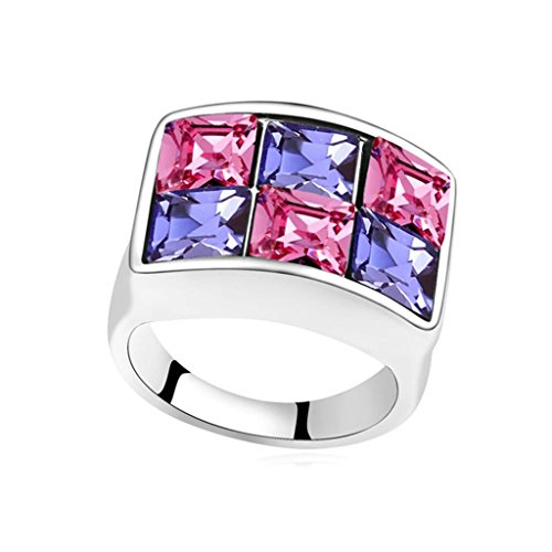 Epinki Gold Plated Ring, Womens Wedding Bands Purple Rose Red Square Rectangle Crystal Ring Size ()