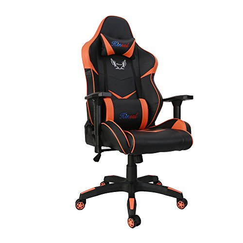 [Upgrade to Large Size] Kinsal Gaming Chair High-back Racing Chair, Ergonomic Computer Chair, Leather Premium Swivel Executive Office Chair Including Headrest and Lumbar Pillow (Black/Orange) Kinsal