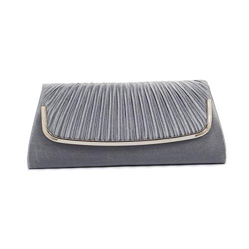 Damara Womens Simple Pleated Satin Clutch Evening Bag, Deep Grey