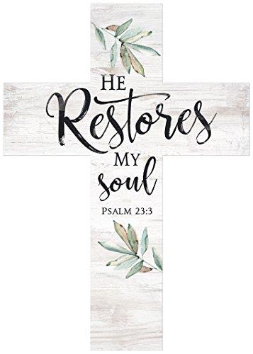 P. Graham Dunn He Restores My Soul Greenery Whitewash 8.5 x 12 Solid Pine Wood Wall Hanging Cross -