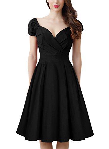 MissMay Women's Vintage Large Lapel Contrast Bishop Sleeve A-Line Big Swing Dress Black Small