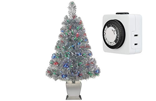 Holiday Time - 32 Inch Fiber Optic Christmas Tree with Timer Bundle (Silver) ()