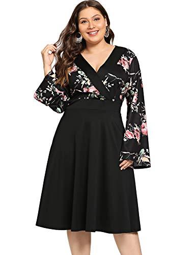 Milumia Women Plus Size Vintage Floral Midi Dress Empire Waist Wedding Black - Waist Empire Cocktail