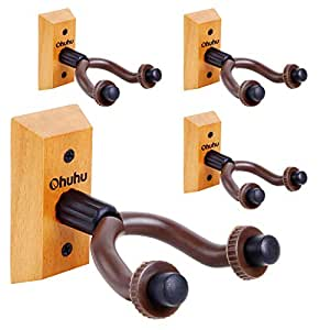 Guitar Wall Mount Hanger 4-Pack , Ohuhu Guitar Hanger Wall Hook Holder Stand for Bass Electric Acoustic Guitar Ukulele