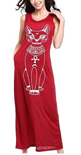 Jaycargogo Des Femmes De Manches Mode Casual Sexy Chat Imprimé Vin Rouge Robe Longue
