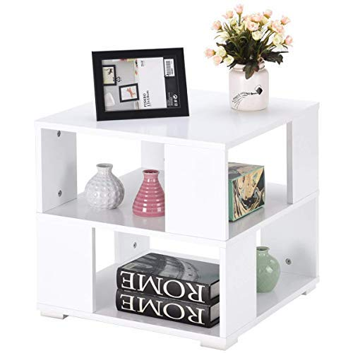Giantex End Table Bedside Table Modern Wood Square with Shelves Storage Cube for Bedroom Living Room Side Coffee Table