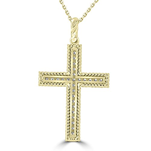 0.45 ct Ladies Round Cut Diamond Cross Pendant Necklace (G Color SI-1 Clarity) in 14 kt Yellow Gold by Madina Jewelry (Image #3)