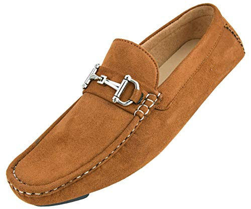 Brown Driver - Amali Mens Plush Microfiber Loafer Driving Shoe with Buckle Style Walken