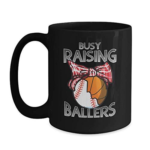 Mother's Day Baseball Basketball Mom Gift - Busy Raising Ballers - 11 oz Black Coffee | Tea Mug