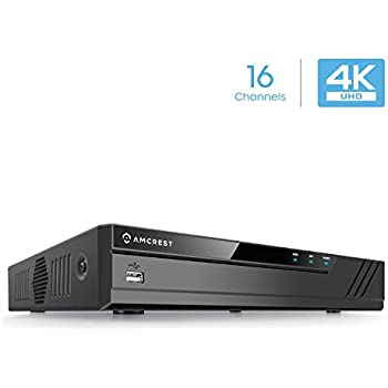 Amcrest NV4116-HS (16CH 720P/1080P/3MP/4MP/5MP/6MP/8MP/4K) Network Video Recorder - Supports up to 16 x 8-Megapixel IP Cameras, Supports up to 6TB HDD (Not Included)