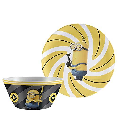 Zak Designs Despicable Me 10in Durable Melamine Plate + Bowl Set, Despicable Me 2pc