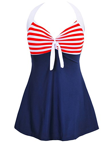 Women Vintage Swimdress Halter Sailor Pin up Swimsuit One Piece Skirtini Bathing Suits -