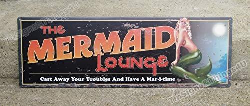 ShopForAllYou Vintage Decor Signs 24x8 Mermaid Lounge TIN Sign VTG/Rustic Metal Beach Bar Nautical Wall Decor OHW